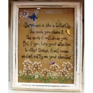 Happiness & Butterfly Stitchery Frame Tan Wood Cloth