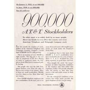 Print Ad 1950 Bell Telephone Stockholders Bell Telephone Books