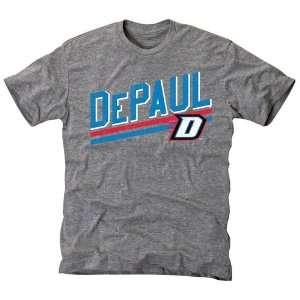 DePaul Blue Demons Rising Bar Tri Blend T Shirt   Ash