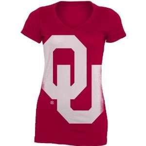 NCAA Oklahoma Sooners Gigantor Ladies V Neck Tee Shirt