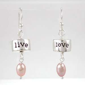 Live, Love Dangle Earrings in Sterling Silver with Pink Pearl Gemstone