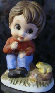 ANTIQUE VINTAGE PORCELAIN FIGURINE STATUE BOY + FROG