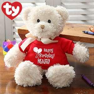 Personalized Birthday Stuffed Teddy Bear   Ty Happy Birthday Bear