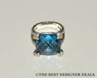 950 New David Yurman 15MM Blue Topaz Cushion on Point Ring Size 6.5