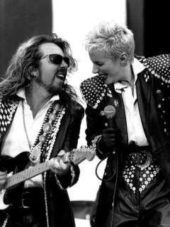 Annie Lennox Singer with Dave Stewart Guitarist Playing Together as