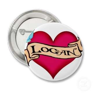 Logan   Custom Heart Tattoo T shirts & Gifts Button