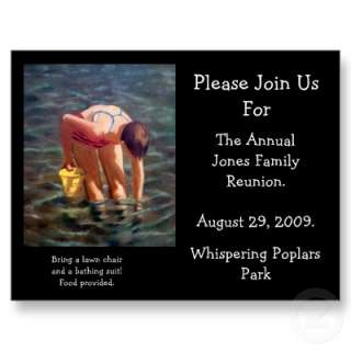 FAMILY REUNION INVITATION, LAKE, BEACH, SWIMMING POST CARD from Zazzle