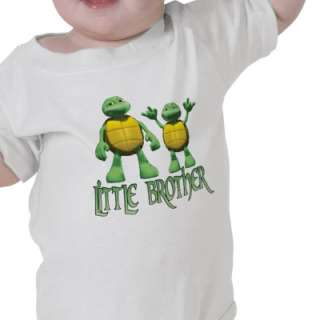Two cute dude green 3D turtles with text that reads Little Brother