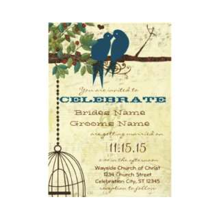 Teal Love Birds Sitting In a Tree Wedding Invite  Zazzle.co.uk