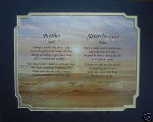 BROTHER & SISTER IN LAW PERSONALIZED POEM GIFT IDEA