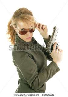 Dangerous Soldier Girl With Gun And Sun Glasses Stock Photo 69956626