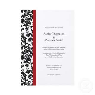 Red and Black Damask Wedding Invitations by PMCustomWeddings