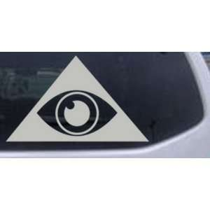 Illuminati Eye Masonic Car Window Wall Laptop Decal Sticker    Silver