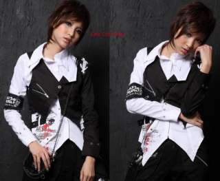 Western Kera Shop Unisex PUNK Rock GOTHIC SHIRT+Vest 2pcs White/B M~L