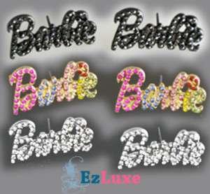 Iced Out Bling NICKI MINAJ Barbie letter font EARRINGS