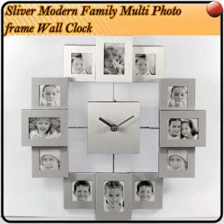 12 Pic Modern Multi Family Photo Frame Wall Clock B27