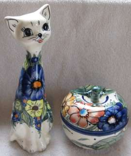 Polish Pottery Unikat Floral Cat Statue Figurine Matching Lidded Apple