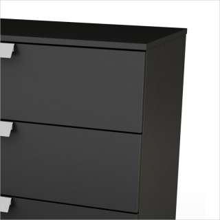 South Shore Affinato 6 Drawer Double Solid Black Finish Dresser