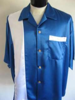 NEW 50s Bright Blue 2Tone Rock & Roll Bowling Shirt 5XL