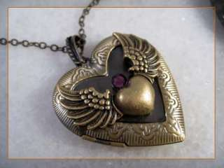 Angel Wing Heart Amethyst Brass Locket Pendant Necklace