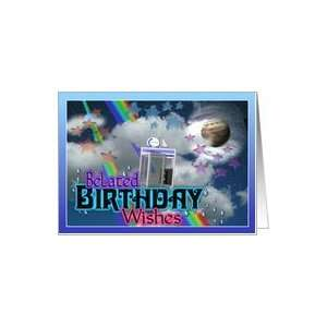 Belated birthday wishes from phone booth in space Card