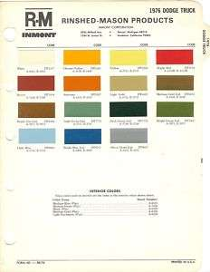 1976 DODGE TRUCK PAINT CHIPS SHEET (R M)