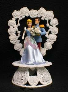 Cinderella DISNEY Wedding Cake Topper LOT Glasses Knife