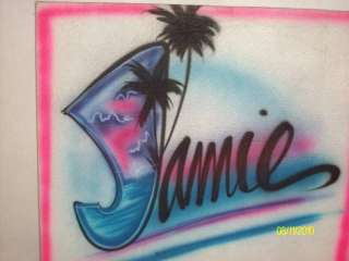 Airbrush name design T shirt personalized airbrushed