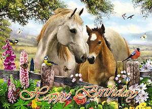 088 Personalised Birthday Card Horses Foal Daughter Mum Nan