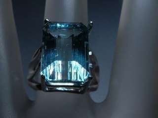 11.70ct Emerald Cut Blue Topaz Solitaire Ring SS 925