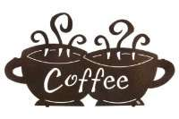 This elaborate coffee themed metal wall art will add an elegant Cafe