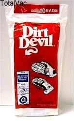 Dirt Devil Vacuum Bags   Style G,10 Bags