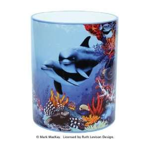 Dolphin WASTEBASKET Trash Can Bathroom Home decor Kitchen & Dining