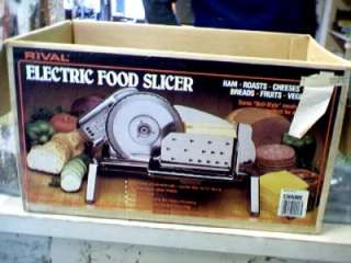 RIVAL Electric Food Slicer Model 1101E/7 In Box Slice Meat and Cheese