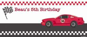 Personalised Race Car Birthday Banner For Sale   Buy Boys Race Car