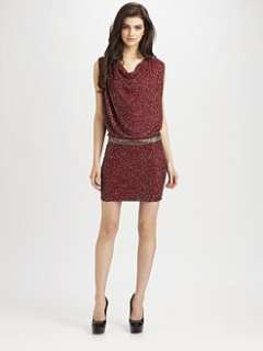 Haute Hippie   Cowlneck Micro Beaded Silk Dress