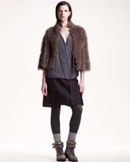 Brunello Cucinelli Cropped Fur/Cashmere Jacket, Sleeveless Silk Top