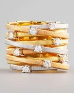 O5221 Marco Bicego Goa Diamond Mixed Gold Ring, 9 Stack