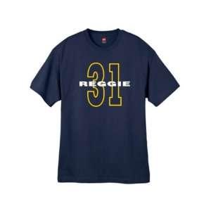 Mens Reggie Miller 31 Throwback Navy Blue T Shirt Size