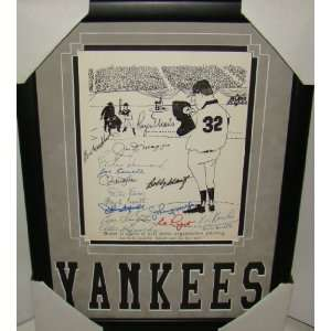 Roger Maris Joe Dimaggio +14 SIGNED Framed Print JSA