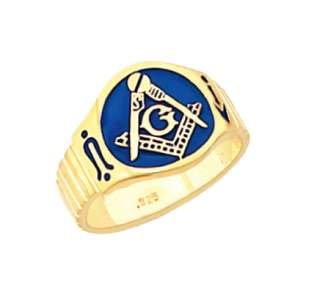Mens Sterling Silver Gold Masonic Freemason Mason Ring