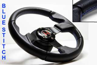 Leather Steering Wheel+HUB+Black Button Honda Civic/Integra
