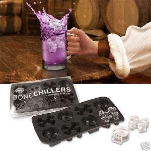 BONE CHILLERS ICE CUBE TRAY SKULL AND CROSS BONES
