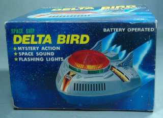 JAPAN BATTERY OPERATED ROBOT DELTA BIRD SPACE SHIP OLD STOCK