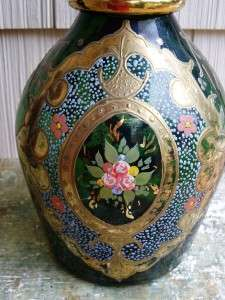 Large Hand Painted Emerald Green Floral Glass Vase