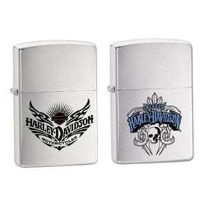 Zippo Lighter Set   Harley Davidson Freedom Skull and Motor Wings Logo
