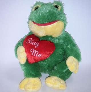 GREEN Yellow FROG Plush HUG ME Red Heart Love Anniversary Cuddly Soft