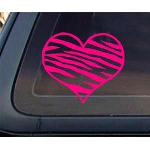 Zebra Print Heart HOT PINK Car Decal / Sticker Automotive
