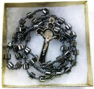 Mens Hematite Beaded St Benedict Cross All Black Rosary Necklace 28