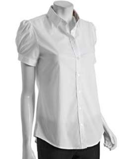 style #311611401 Burberry Brit white cotton puff sleeve shirt